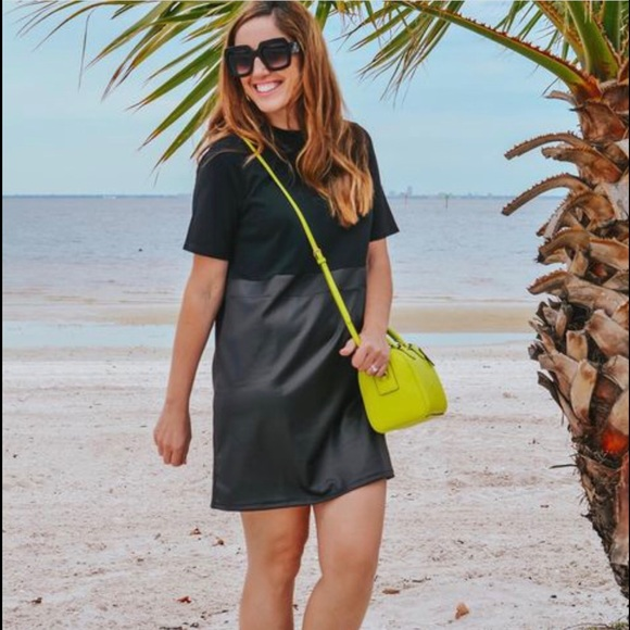 Black Dress T-shirt and Faux Leather Look